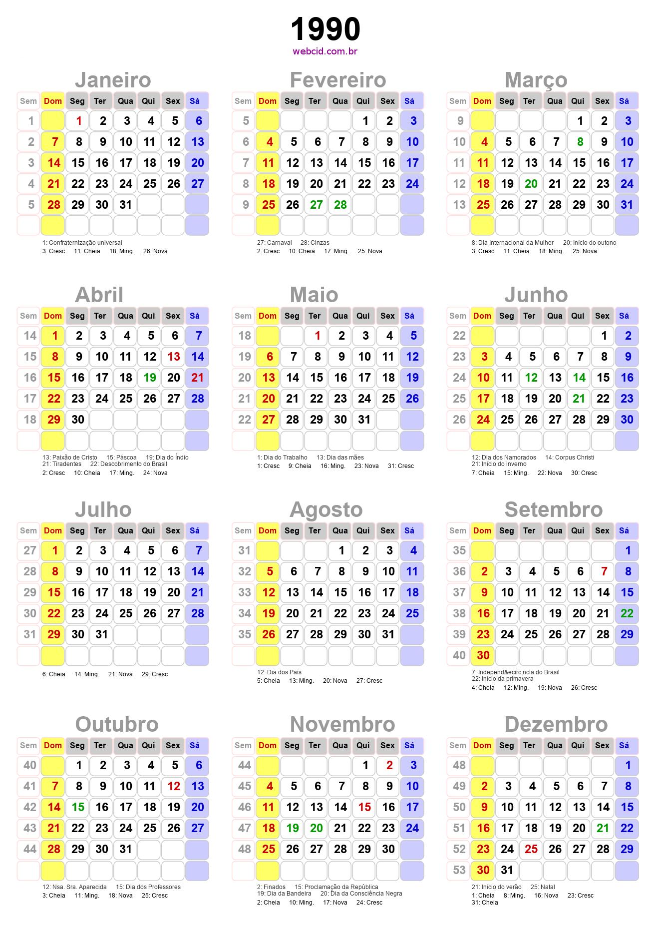 1990 Calendario.Calendario 1990 Em Png Pronto Para Voce Utilizar Webcid