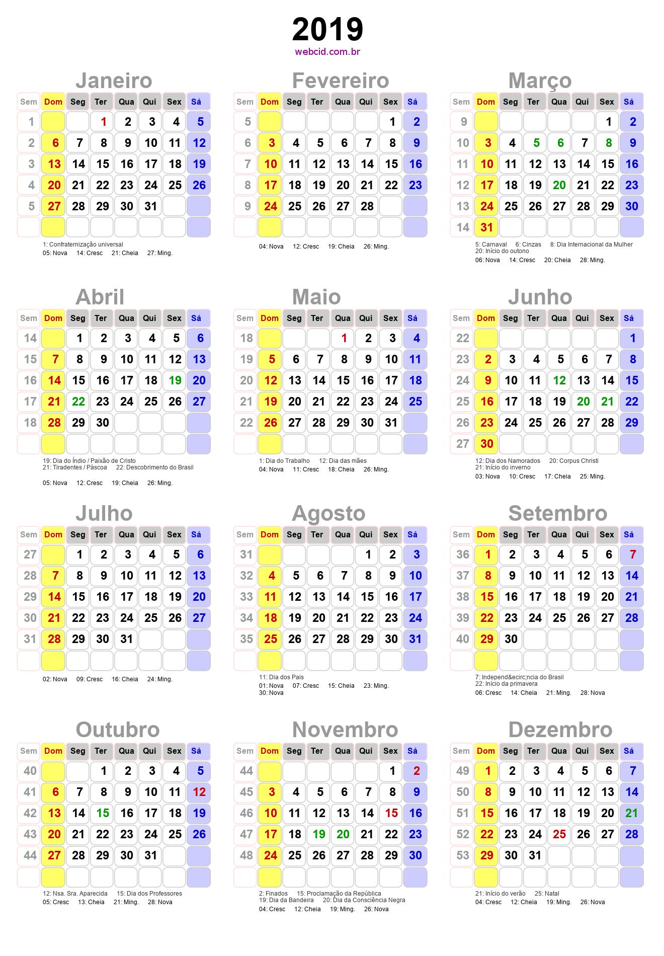 Calendario 2020 Com Feriados Para Impressao.Calendario 2019 Em Png Pronto Para Voce Utilizar Webcid