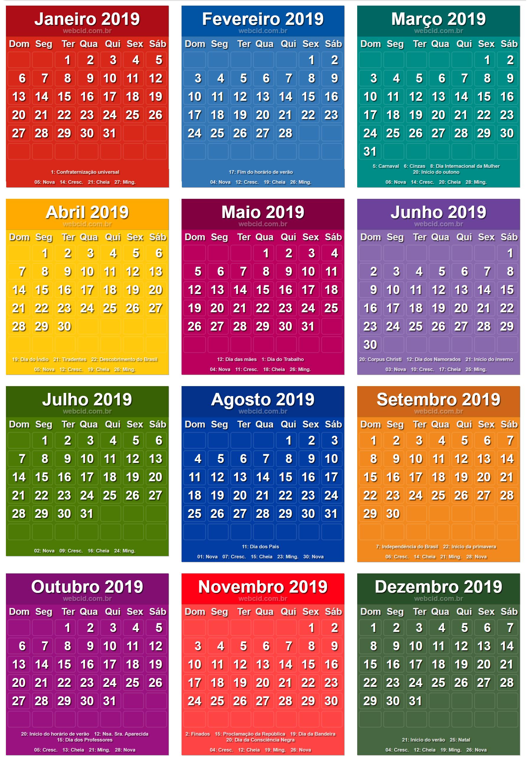 Calendario 2020 Brasileiro Com Feriados.Calendario 2019 Em Png Pronto Para Voce Utilizar Webcid