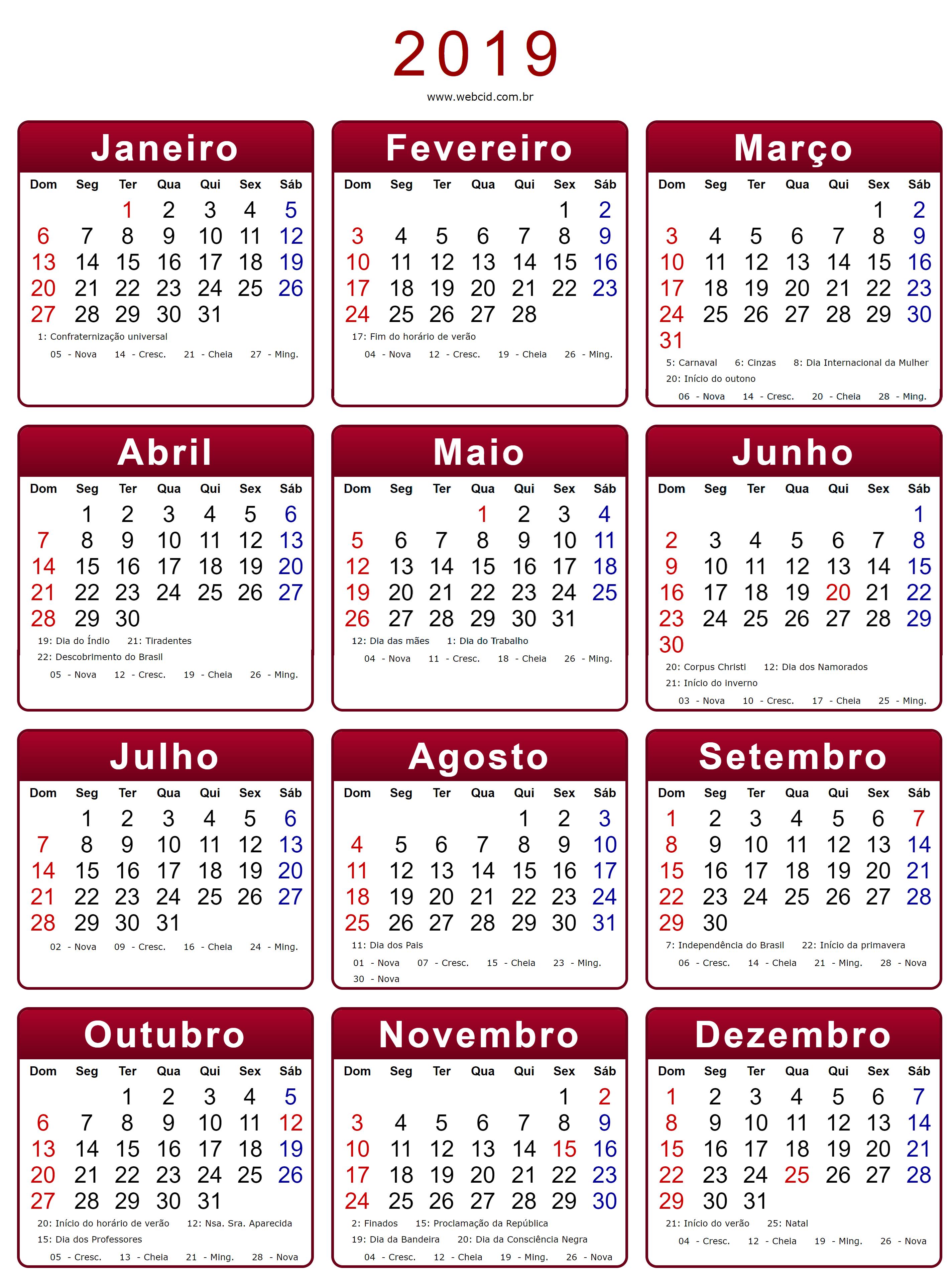 Calendario 2020 Pdf Brasil.Calendario 2019 Em Png Pronto Para Voce Utilizar Webcid